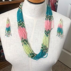 Beaded Necklace - matching earring set